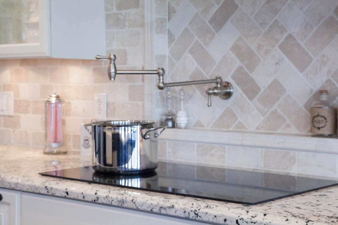 Pot filler above stove in Gilbert Arizona kitchen remodel